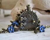 Fairy Door Locket, Garden Door Necklace, Midnight Blues Bronze Leaves and Glass Flowers Necklace