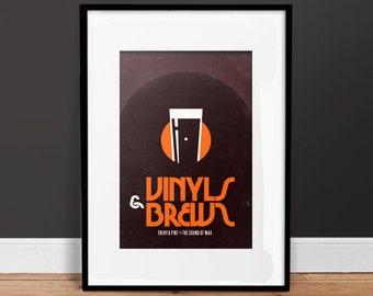 Vinyls & Brews  - Vintage Poster - Retro Art Print - Music, Beer