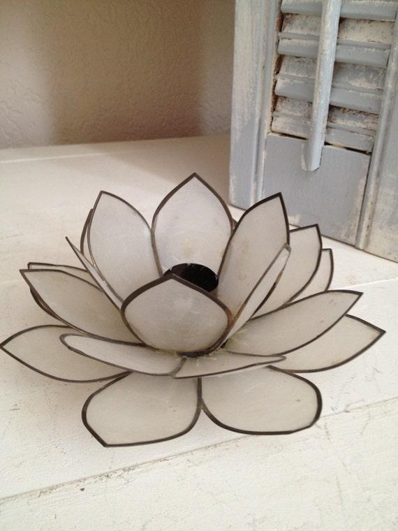 Capiz shell candle holder vintage lotus flower taper candle - Capiz shell tealight holder ...