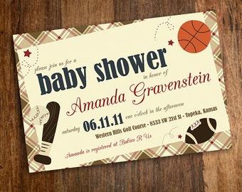 Our Little MVP Vintage Sports Baby Shower Invitation