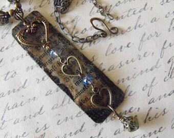 Altered Art Handmade Necklace, Pendant, Antiqued Bronze, Swavorski Crystals HEART