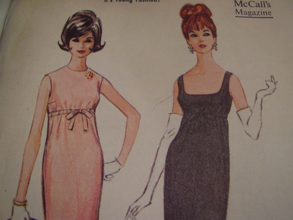 Vintage 1960's McCall's 7043 Dress Sewing Pattern, Size 13, Bust 33