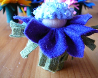 Small Purple-Blue Flower Fairy, Waldorf Inspired, Wool Felt Peg Doll Fairy