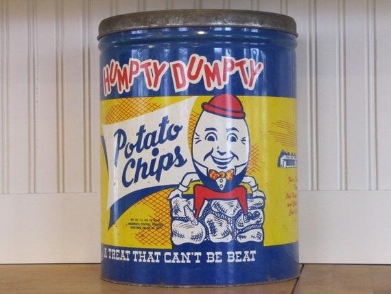 Humpty Dumpty Potato Chips Tin, Humpty Dumpty Potato Chips, Humpty Dumpty, Vintage Tin, Large Tin Can