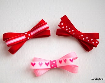 Valentines Day Hair Clips Pink Red Hair Bow Set Baby Hair Clips Kids Hair Clips Heart Hair Clips