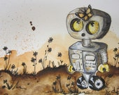 Robot and Butterfly Hand Painted Card