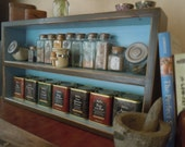Spice Rack-Large Free Standing Spice Rack in Brown and Light Blue - Hand Made Rustic Furniture