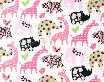 "Animal Land Oxford Cotton Fabric - Giraffe Elephant Bird Rhino - Pink - per Yard (43 x 36"") 37331"