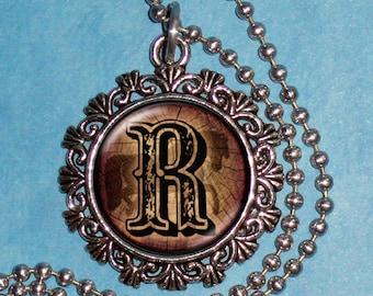 "Letter ""R"" Art Pendant,  Alphabet Resin Pendant, Vintage Silver, Black & Brown Photo Pendant"
