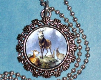 Scene in Braemar - Highland Deer  Art Pendant, Vintage Animals Resin Pendant, Sir Edwin Henry Landseer Art, Photo Pendant
