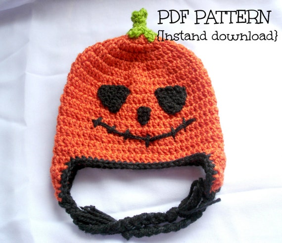 Crochet Halloween Baby Hat Pattern : Items similar to Crochet pumpkin hat pattern, crochet ...