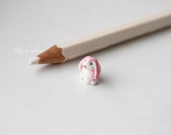 Miniature pink bunny  polymer clay sculpture, made to order