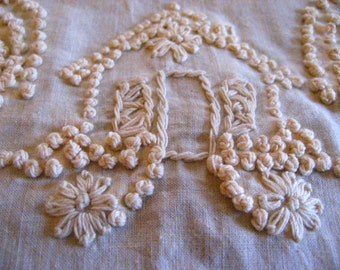 Vintage French Knot Cottage Embroidery for pillow tote apron