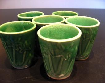 vintage japan sake cups tea cups palm trees huts camels green ceramic crackle glaze