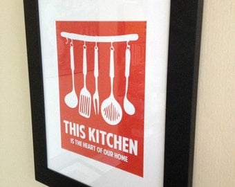This Kitchen Is The Heart Of Our Home, Kitchen Print, Kitchen Art, Kitchen Poster, Custom Color