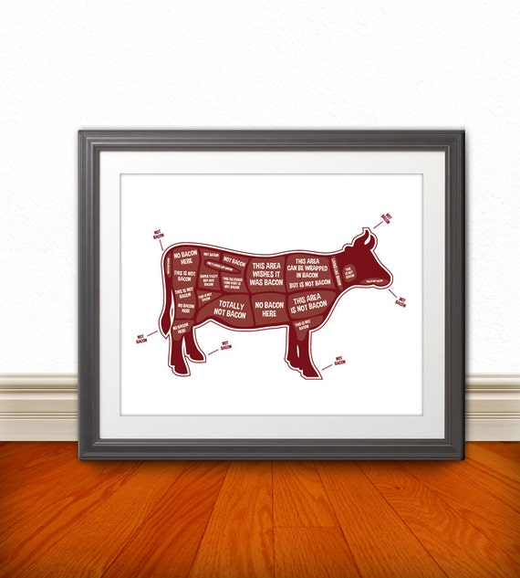 Cow Butcher Diagram, Butcher Chart - Kitchen Sign, Kitchen Print, Kitchen Art, Bacon Print, Bacon Sign - 8x10