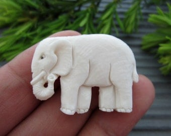 Hand carved Little Elephant,pendant, Carved bone cabochon, Jewelry making Supplies B3817
