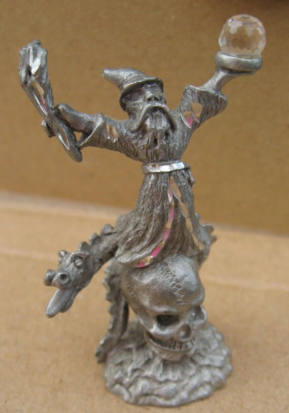 Dragon wizard w crystal skull pewter figurine spoontique - Pewter dragon statues ...