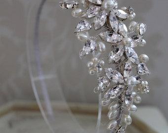 Bridal headdress , Vintage headpiece , bridal headpiece , bridal headband - Hair accessory - Wedding headdress