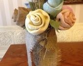 Mason jar with Material Roses