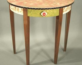 Half Round Table: Tomato-Anthropologie Shell Knob, Custom Made-To-Order
