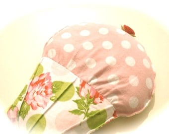 Cramp Cake Microwavable Heat Pack, Pink Polka Dot Cupcake, Spring Pink Roses Flannel