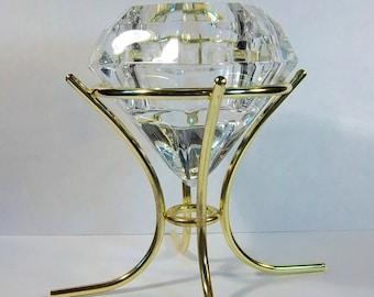 Diamond Shaped Crystal Candle Holder