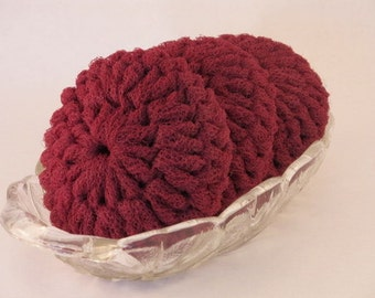Crochet Pot Scrubber - Wine Nylon Netting Dish Scrubbies - For The Kitchen and Bath