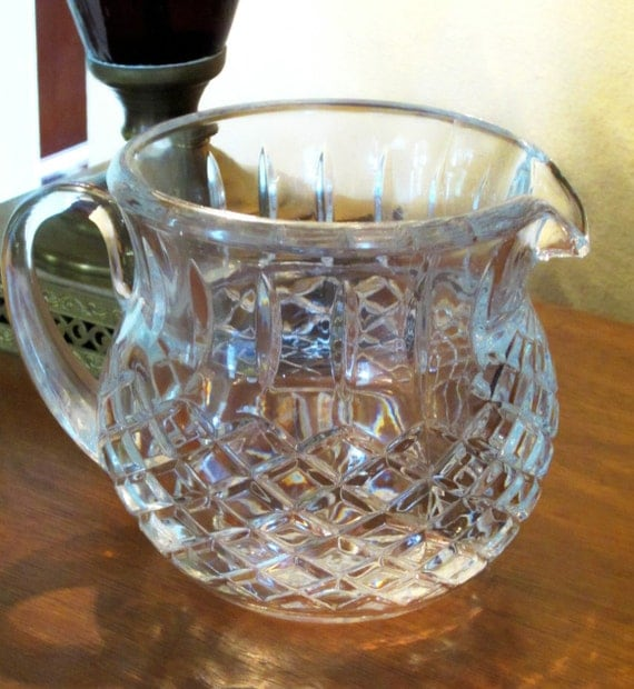Vintage Leaded Cut Glass Pitcher Diamond Pattern Extremely