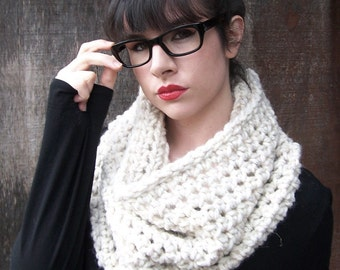 LARGE CROCHET COWL scarf eternity scarf cowl large chunky neck warmer infinity loop circle winter women cream natural wheat oatmeal
