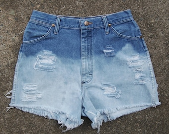 "Vintage Wrangler high waisted booty shorts coachella cut offs ombre dip dye bleached destroyed blue denim acid wash 30"" waist"