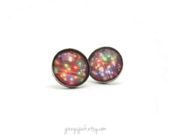 CLEARANCE - Celebration Post Earrings - 14mm Earrings - String of Lights Earrings - Colorful Post Earrings - Stud Earrings