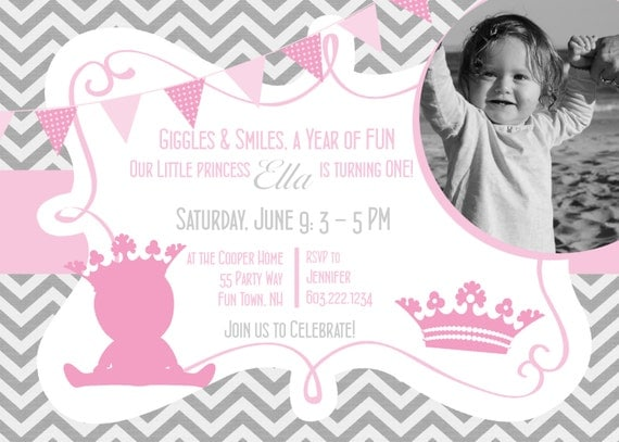 Princess 1st Birthday Invitation Printable Invitation Princess – 1st Birthday Princess Invitation