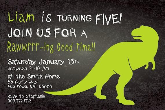 Dinosaur Birthday Invitation Fifth Birthday Dinosaur Party