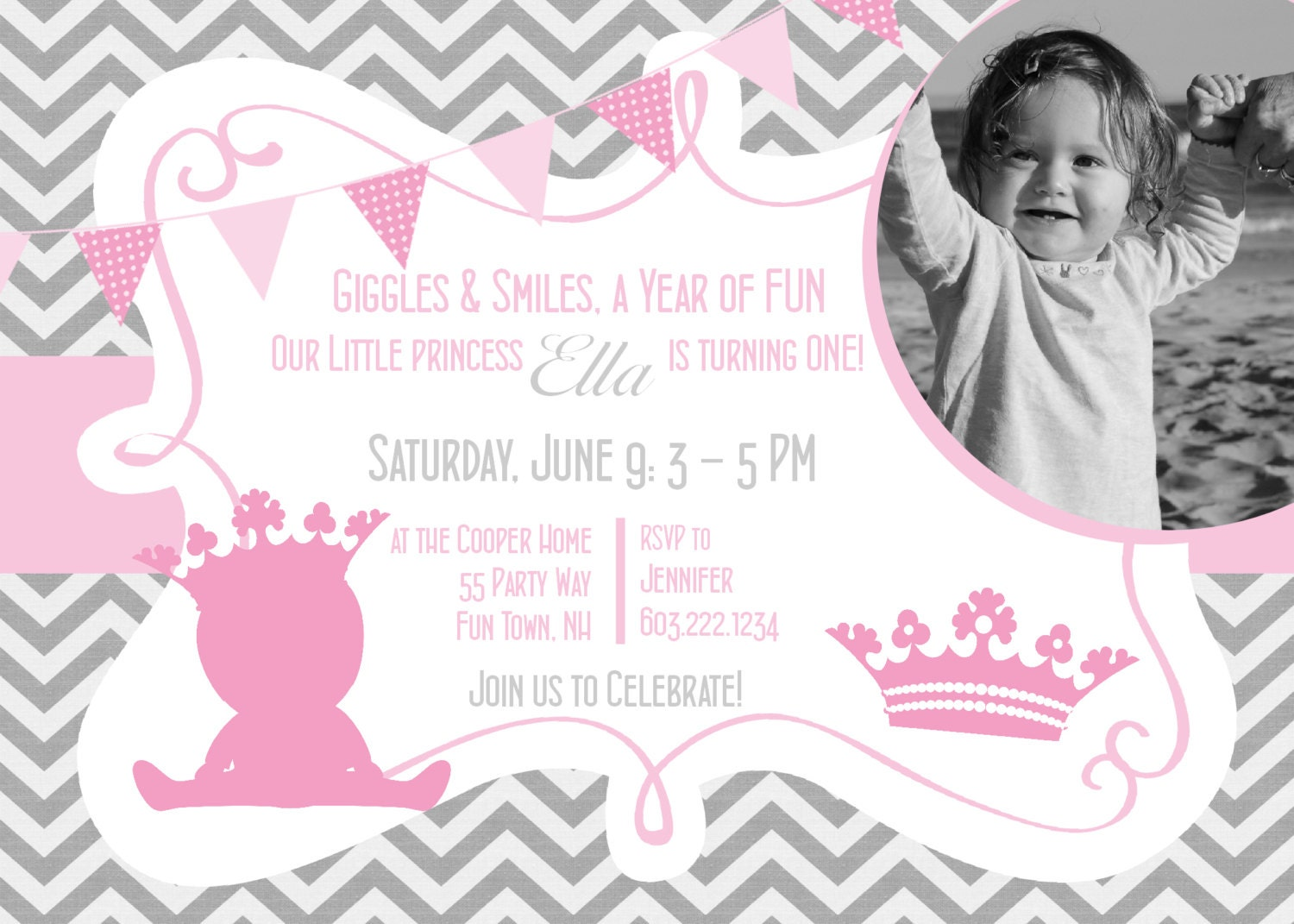 Princess 1st Birthday Invitation Printable Invitation Princess – Pink 1st Birthday Invitations