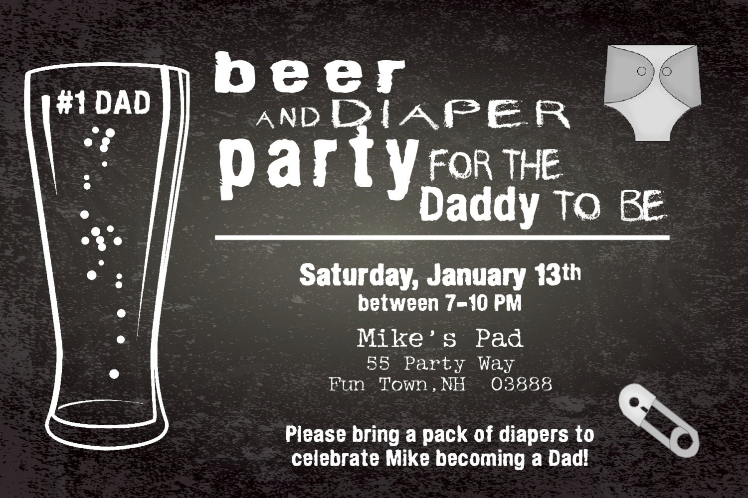 beer and diaper shower invitation boy man shower man diaper