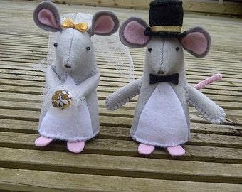 Handmade mice wedding cake cheese topper felt - made to order