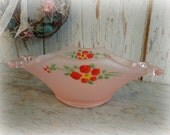 RESERVED FOR SHANNON / antique depression glass hand painted candy dish