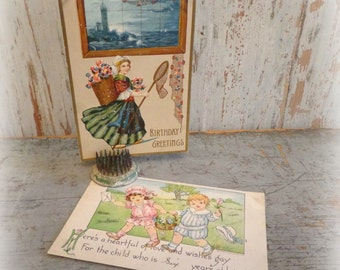 antique postcards / floral birthday greetings / set of 2