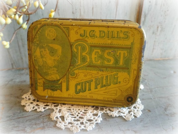 FREE shipping / antique tobacciano tin / dill's BEST cut plug / EPSTeam