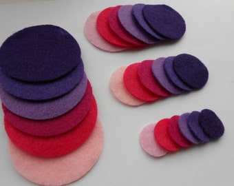 24 pink and purple die cut felt circles in 4 sizes and 6 colors
