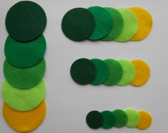 24 green and yellow die cut felt circles in 4 sizes and 6 colors