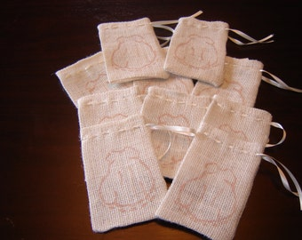 Set of TEN Burlap Hand Painted  Little Girl Dress Gift Favor Bags. Custom Made