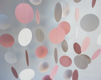 Pink & White Circle Paper Garland, Baby Shower, First Birthday, Valentine's Day Decor