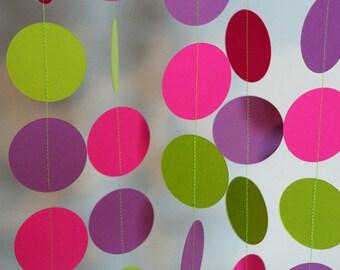 Girl's Birthday Garland, Hot Pink, Lime Green & Purple Circle Garland, 10 ft. long