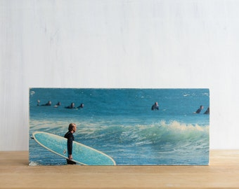 """Surfing Photography, 'Aqua Board'  Photo Art Block, 6""""x14"""" Limited Edition Image Transfer on Wood Panel,  by Patrick Lajoie, surf culture"""