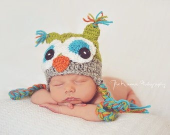 Crochet Owl Hat - Celadon green, gray, orange and teal - Photography Prop - 15 inch size  - 3-6 month size - Made to order two days