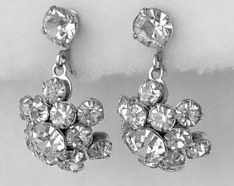 Dazzling Vintage Clear Prong Set Rhinestones Hanging Concave Screw Back Dangling Earrings Elegant Excellent Pristine Condition Sparkly