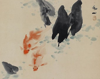 Japanese Vintage Art Scroll Painting Gold Fish - 130540