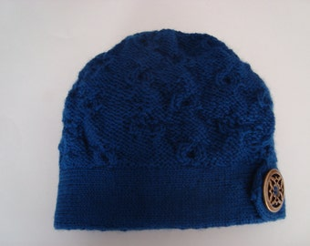 Hand knit bright blue woman's pull on hat